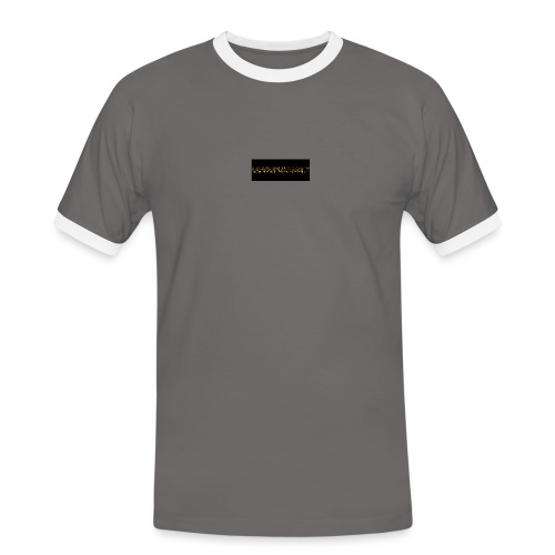 orange writing on black - Men's Ringer Shirt