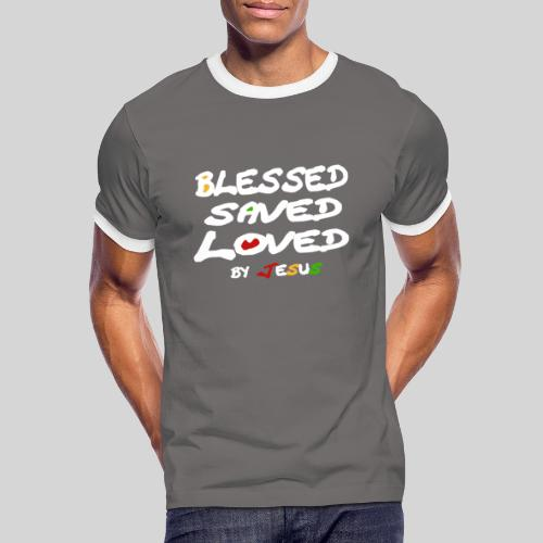 Blessed Saved Loved by Jesus - Männer Kontrast-T-Shirt