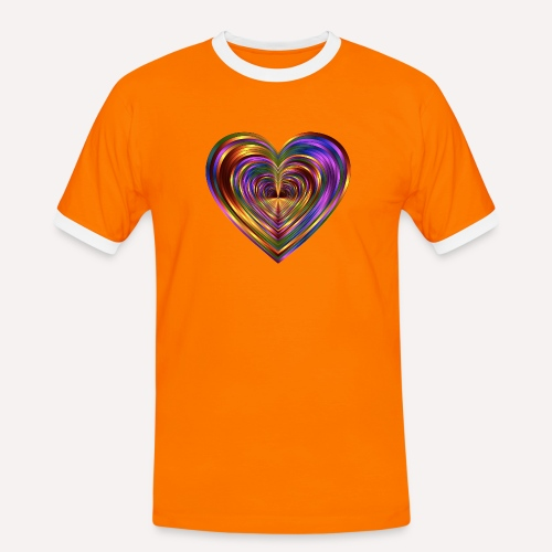 Colorful Love Heart Print T-shirts And Apparel - Men's Ringer Shirt