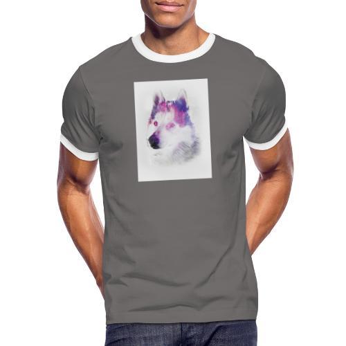 Pies husky - Koszulka męska z kontrastowymi wstawkami