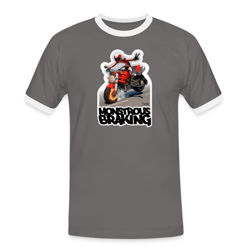 Ducati Monster, a motorcycle stoppie. - Camiseta contraste hombre