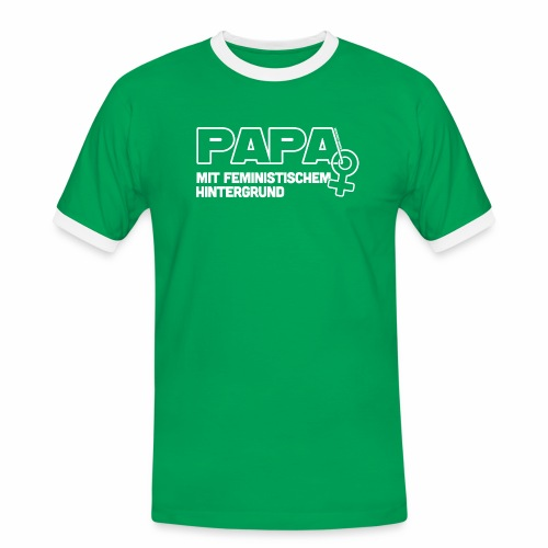 Papa mit feministischem Hintergrund - Männer Kontrast-T-Shirt