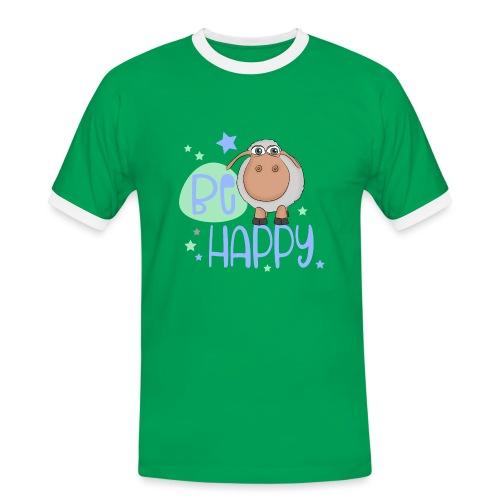 Be happy Schaf - Glückliches Schaf - Glücksschaf - Männer Kontrast-T-Shirt