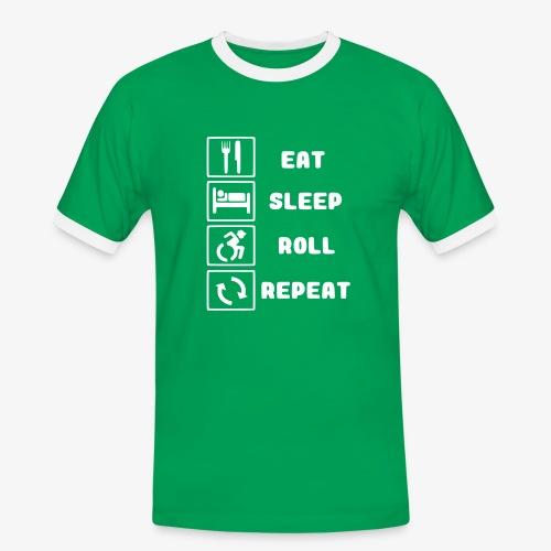 >Eten, slapen, rollen met rolstoel en herhalen 001 - Mannen contrastshirt