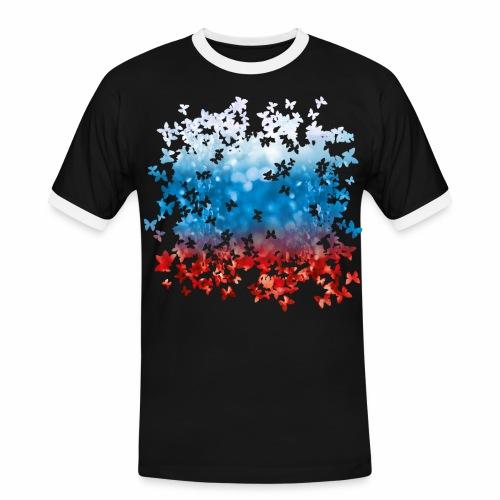 06 Russland Flagge Fahne Russia Schmetterlinge - Männer Kontrast-T-Shirt