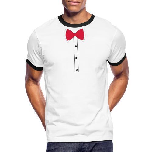 Anzug mit Fliege - Männer Kontrast-T-Shirt