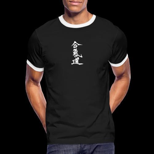 aikido_wektor - Koszulka męska z kontrastowymi wstawkami