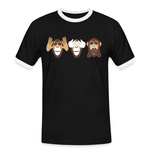 drei affen, nichts hoeren nichts sehen nichts - Männer Kontrast-T-Shirt