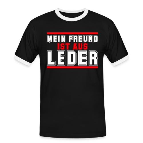 Mein Freund ist aus Leder - Männer Kontrast-T-Shirt