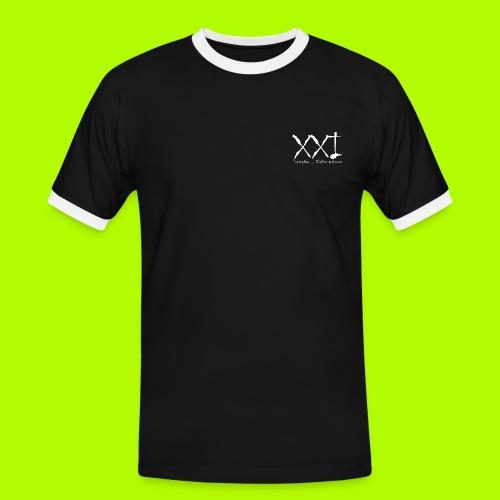 TwentyOne weiss - Männer Kontrast-T-Shirt
