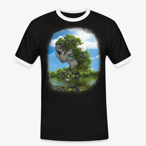 Land of Id - Kontrast-T-shirt herr