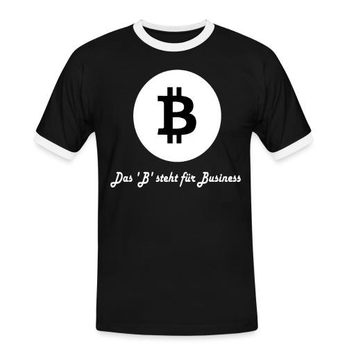Das B steht fuer Business weiss - Männer Kontrast-T-Shirt