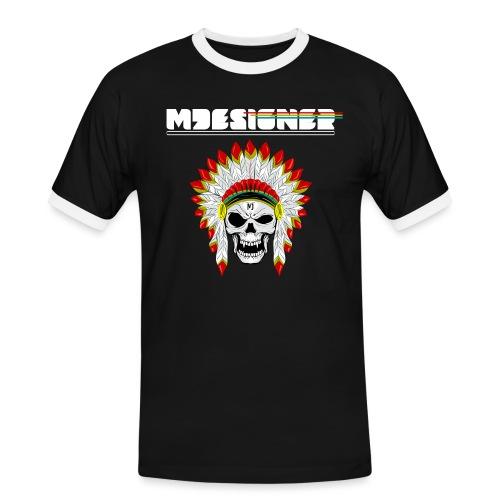 calavera o craneo con penacho de plumas vampiresco - Camiseta contraste hombre