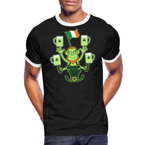 Leprechaun Juggling Beers and Irish Flag - Men's Ringer Shirt