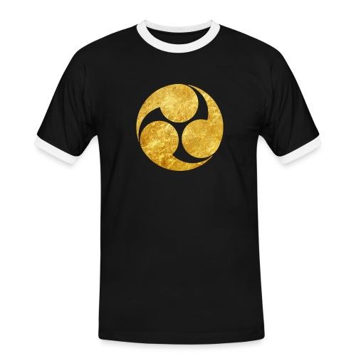 Kobayakawa Mon Japanese clan gold on black - Men's Ringer Shirt