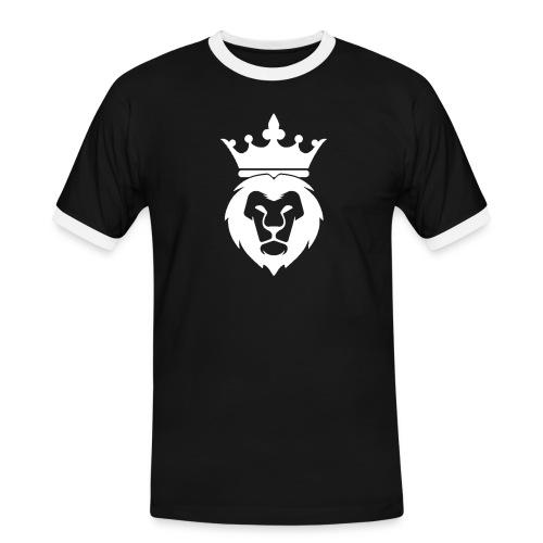 Lion_Logo_with_Crown_St--rre_bild_-white- - Kontrast-T-shirt herr