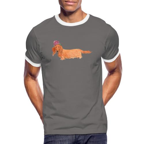 dachshund with flower - Herre kontrast-T-shirt