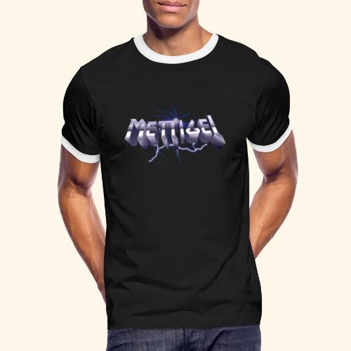 Mettigel T Shirt Design Heavy Metal Schriftzug - Männer Kontrast-T-Shirt