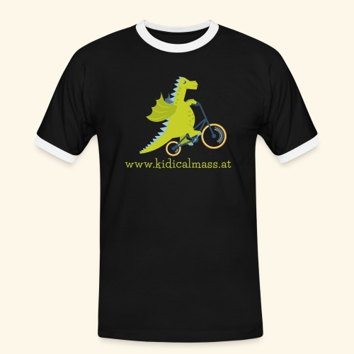 Musikdrache für dunklen Hintergrund - Männer Kontrast-T-Shirt