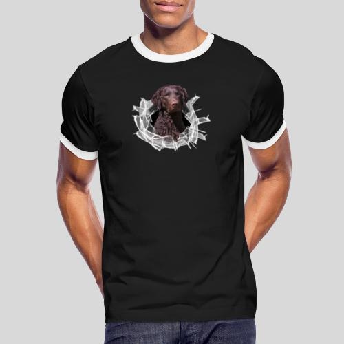 Curly Coated Liver im Glasloch - Männer Kontrast-T-Shirt