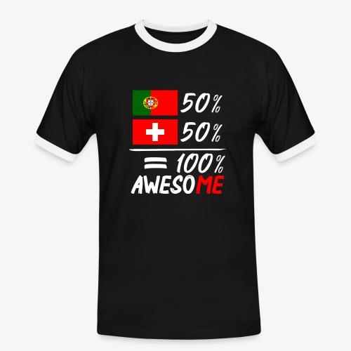 50% Portugal 50% Schweiz - Männer Kontrast-T-Shirt