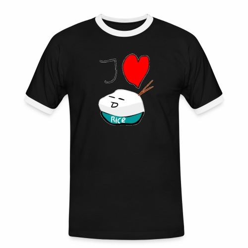 I Love Rice T-Shirt - Mannen contrastshirt