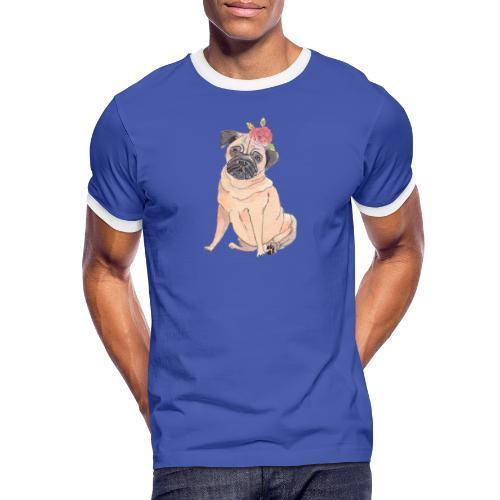 Pug with flower - Herre kontrast-T-shirt