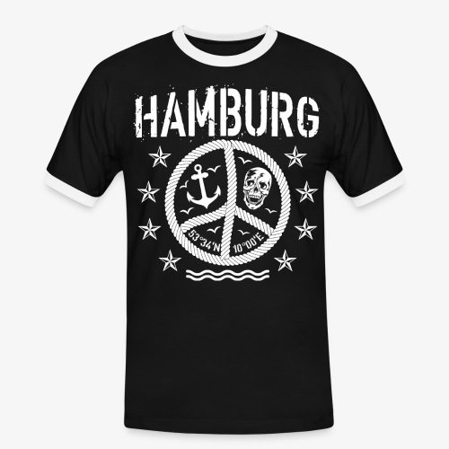 105 Hamburg Peace Anker Seil Koordinaten - Männer Kontrast-T-Shirt