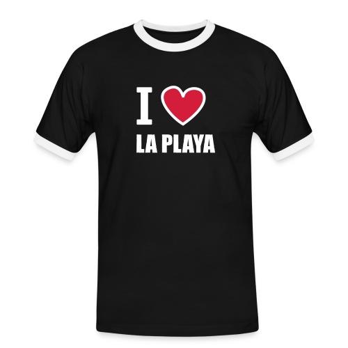 I love LA PLAYA Herz rot - Männer Kontrast-T-Shirt