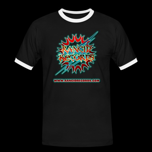 Records Logo Transparent with website blue glow - Men's Ringer Shirt