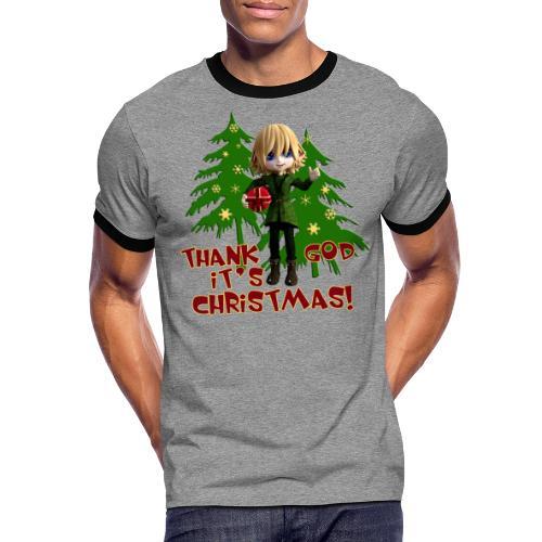 Weihnachtself Thank God it´s Christmas! - Männer Kontrast-T-Shirt