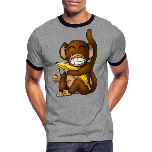 Super Fröhlicher Affe - Männer Kontrast-T-Shirt