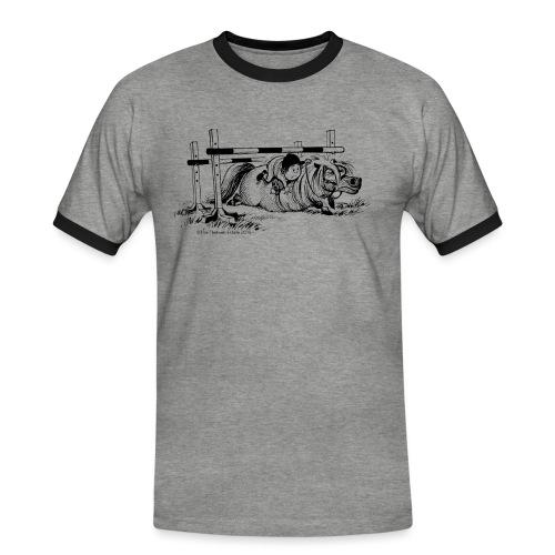 Thelwell Cartoon Pony Sturz - Männer Kontrast-T-Shirt