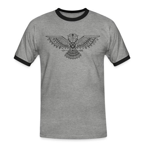 Grafische uil - Mannen contrastshirt