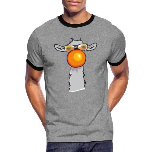 Chewing Llama - Männer Kontrast-T-Shirt