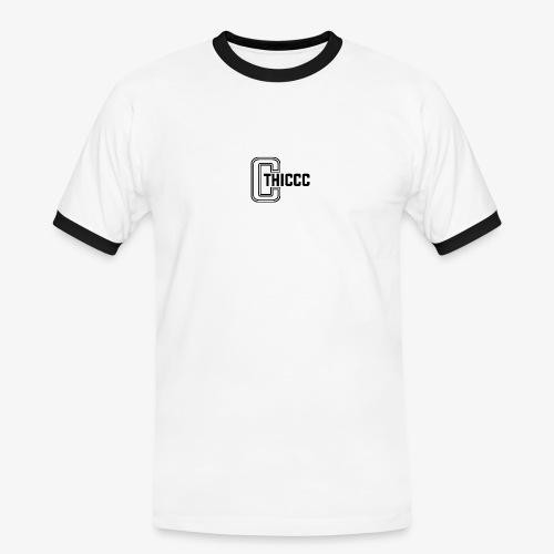 thiccc logo WHITE and BLACK - Men's Ringer Shirt