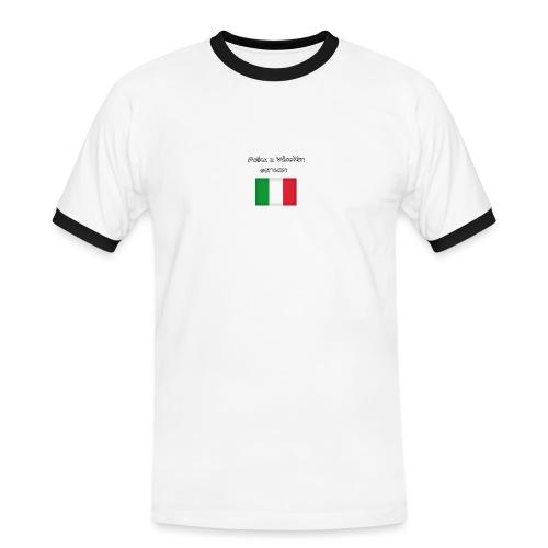 Włosko-polska - Koszulka męska z kontrastowymi wstawkami