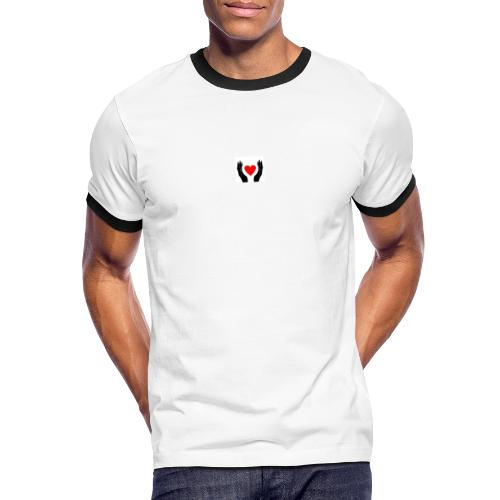 Schwarze Hände die rotes Herz halten - Männer Kontrast-T-Shirt