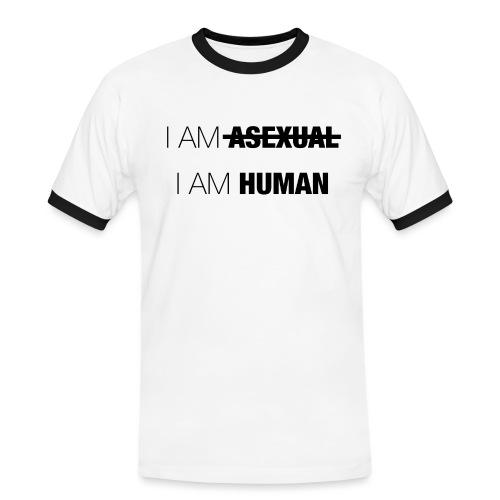 I AM ASEXUAL - I AM HUMAN - Men's Ringer Shirt