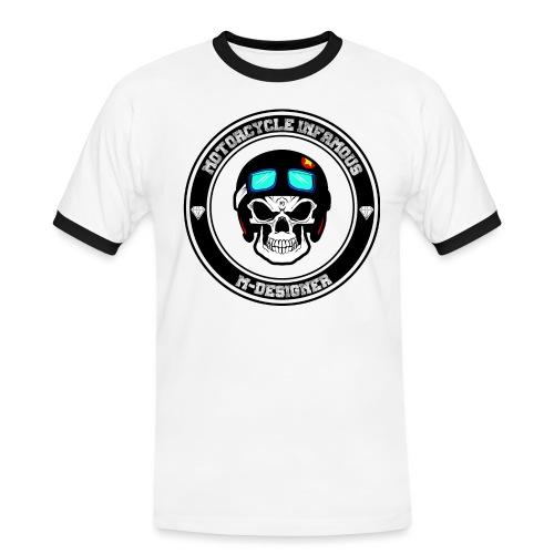 calavera con casco de moto impresa en playera - Camiseta contraste hombre