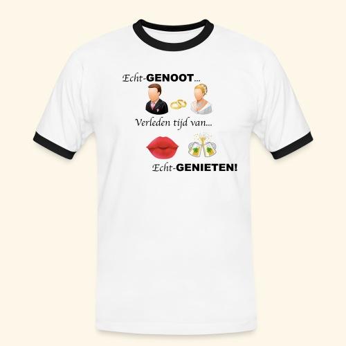 Echt-genoot, verleden tijd van ECHT-GENIETEN - Mannen contrastshirt