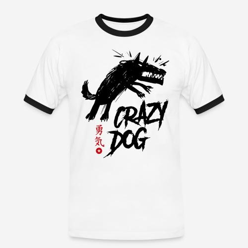 verrückter verrückter Hund - Männer Kontrast-T-Shirt