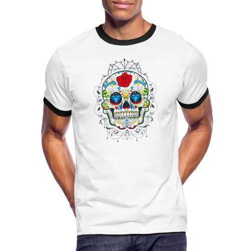 Rose und Diamantschädel - Männer Kontrast-T-Shirt