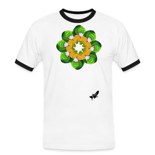 Parrot Pattern by BlackenedMoonArts, w. logo - Herre kontrast-T-shirt