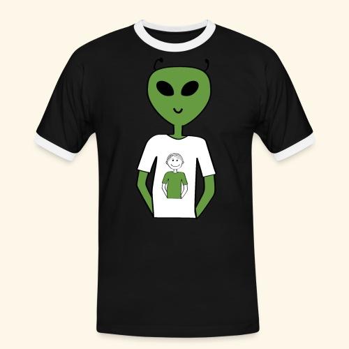 Alien human T shirt - Kontrast-T-shirt herr