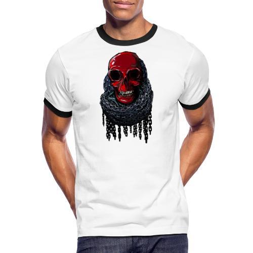 RED Skull in Chains - Men's Ringer Shirt