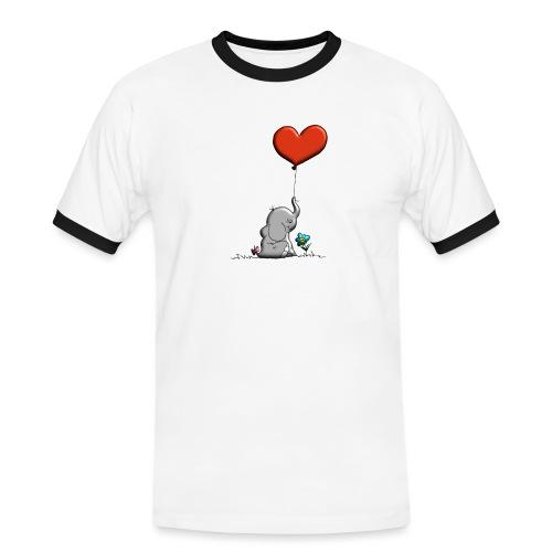 Éléphant, coeur rouge, der Elefant - T-shirt contrasté Homme