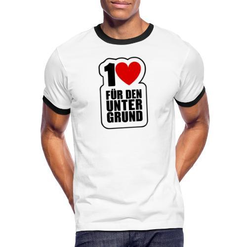 1 Herz für den Untergrund - Original Logo - Männer Kontrast-T-Shirt