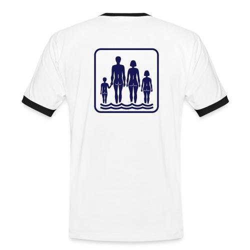 Vit/marinblå Family naturism T-shirts - Kontrast-T-shirt herr