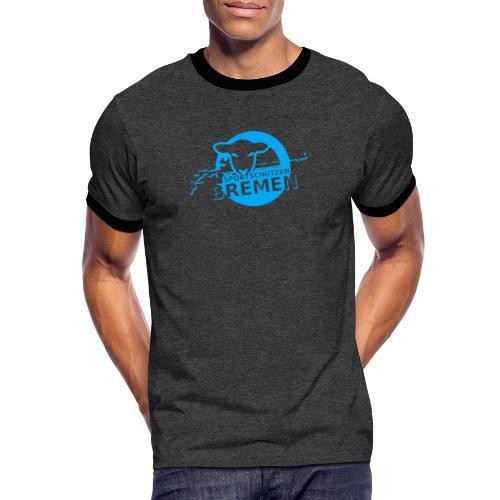Blau - Männer Kontrast-T-Shirt